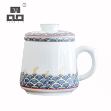 цена на TANGPIN colour enamels ceramic tea mugs with filters porcelain coffee cup with gifts box 350ml