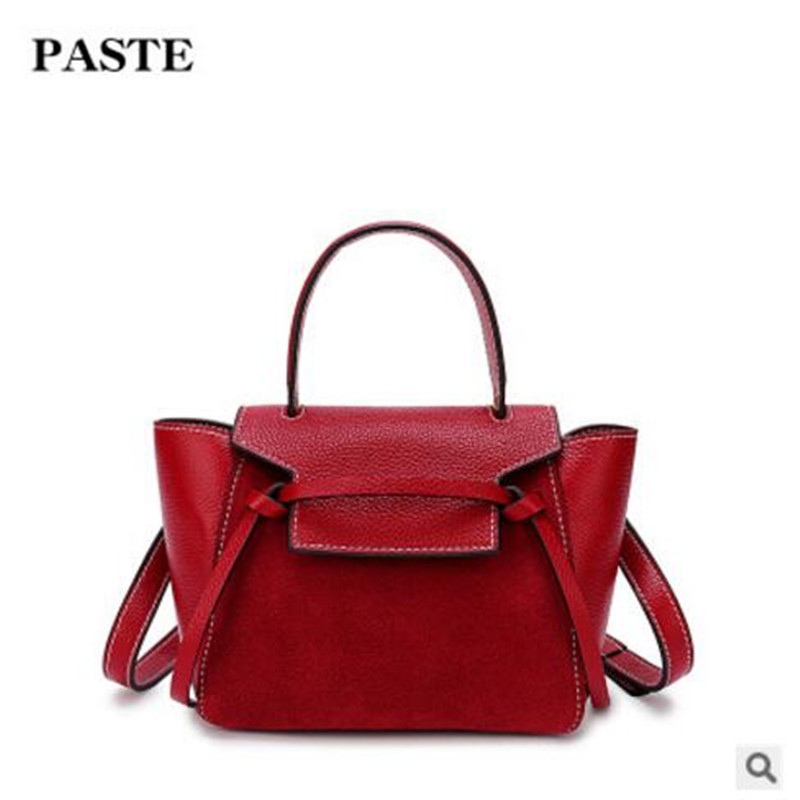 PASTE High-end Luxury Brand Women's Bags First Layer of Leather Fashion 2018 New Handbag Shoulder Bag Ladies Handbag Tide Bag aetoo first layer of leather korean version of the tide ladies oil wax leather handbag ladies shoulder messenger bag