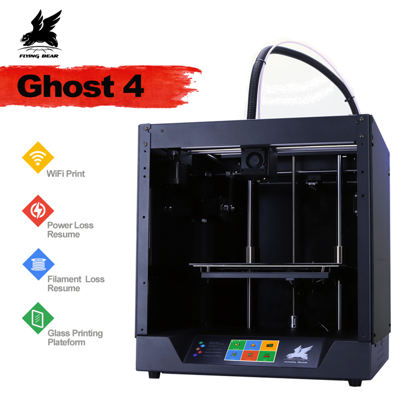2019 Newest Design Flyingbear-Ghost4  3D Printer full metal frame High Precision 3d printer Diy kit glass platform Wifi