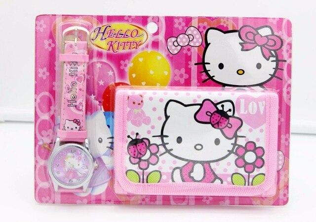 2018 new kittty kids Watch Digital watch Wallet for kids Girls watches Cute Unic