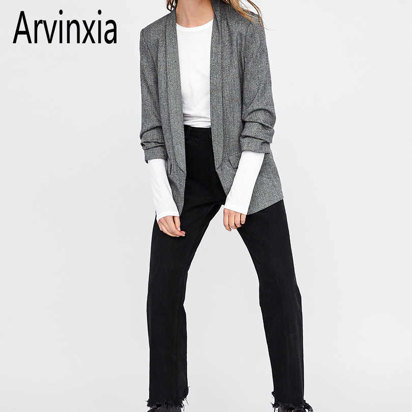 Arvinxia ZA Casual Spring Solid Pockets Slim Blarzers Suit Cardigans New Pleated Sleeve Office Lady Suit Autumn Slim Women Coats