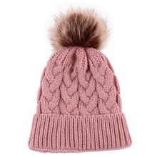 soft Warm Winter Knit Beanie Cap Beige/Grey/Black/Pink/Khaki Acrylic fiber Fur Pom Pom Hats multicolor Winter Caps Styling Tools(China)