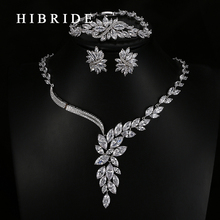 HIBRIDE Luxury New Design AAA Cubic Zirconia Necklace /Bracelets/Earrings ,White Gold Color Women Wedding Jewelry Sets N-61
