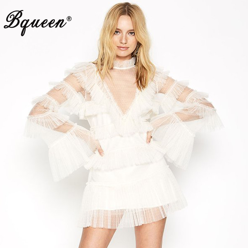 Bqueen New Mesh Cascading Ruffle A-Line <font><b>Dress</b></font> <font><b>Deep</b></font> <font><b>V</b></font> Floral <font><b>Sexy</b></font> Bodycon Club Party Fashion Lady Hollow Out Mini <font><b>Dress</b></font> image