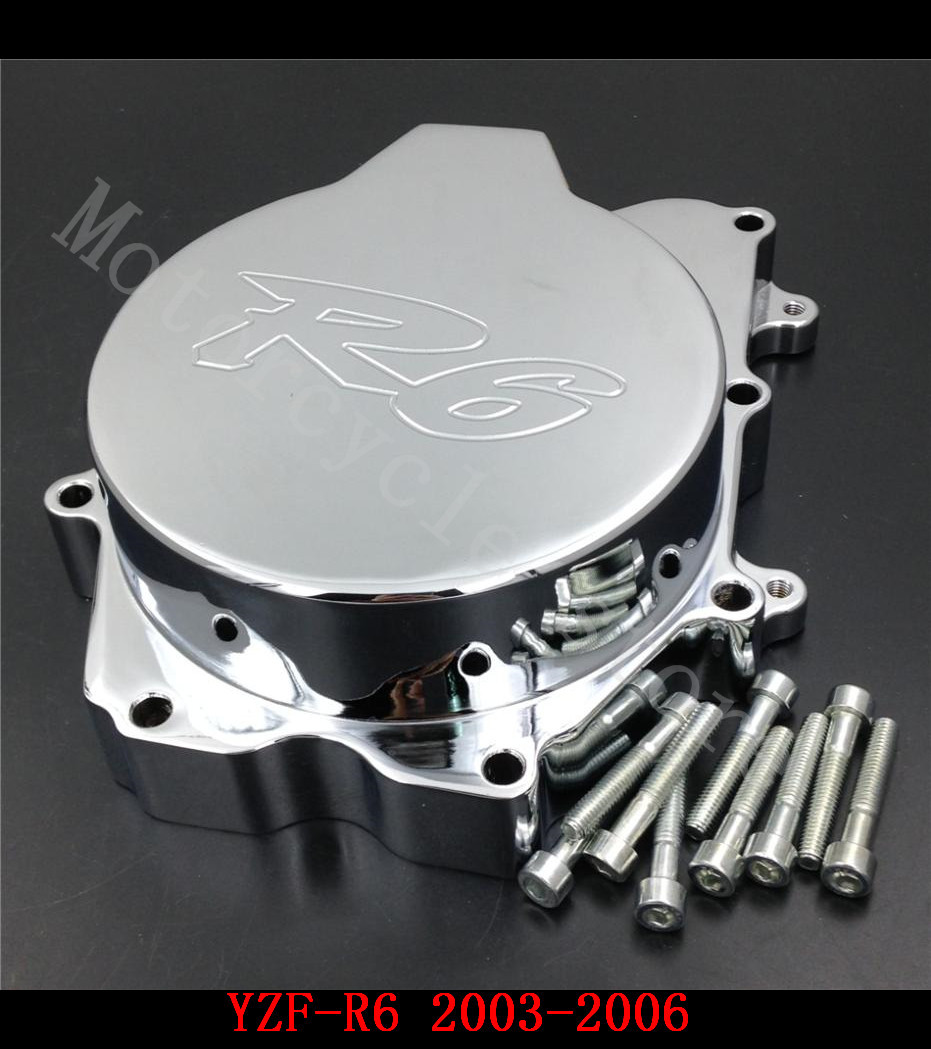 Fit for Yamaha YZFR6 YZF-R6 2003 2004 2005 2006 YZFR6S R6S 2006 Motorcycle Engine Stator cover Chrome left side mfs motor motorcycle part front rear brake discs rotor for yamaha yzf r6 2003 2004 2005 yzfr6 03 04 05 gold