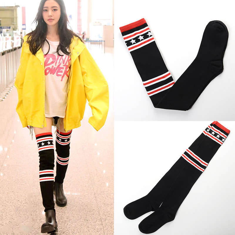 new winter color stripe personality knee length stockings stockings leg elastic yarn