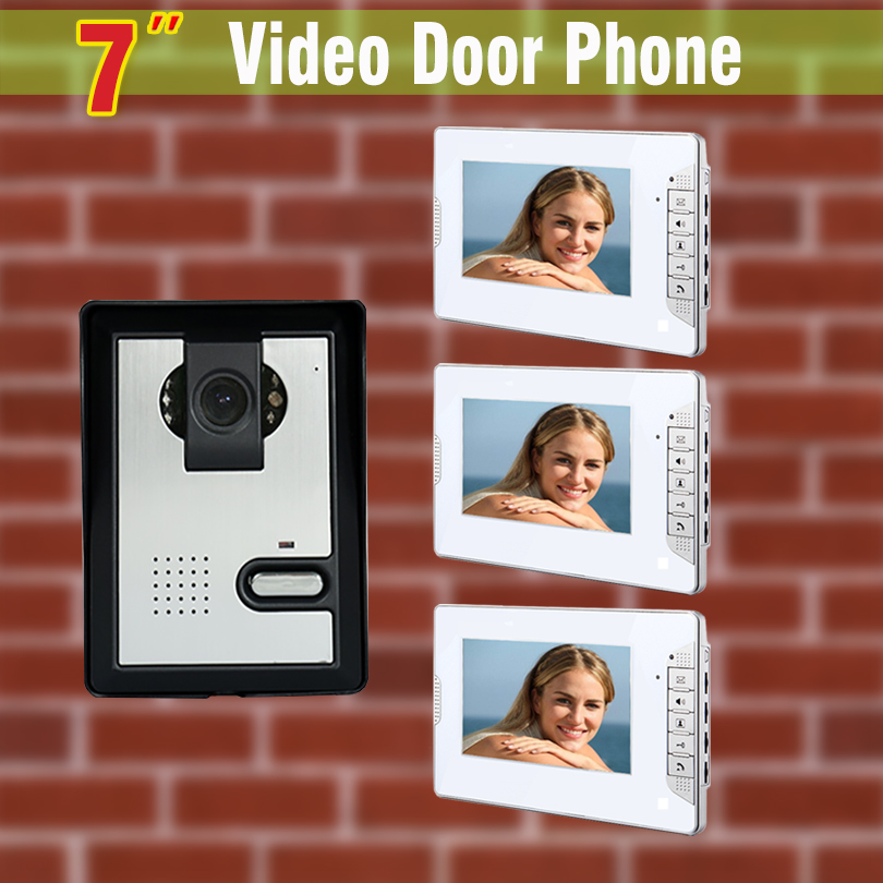 7 Inch Monitor Video Door Phone Intercom Doorbell System Night Vision Camera Video Intercom Interphone Kit 1-Camera + 3-Monitor