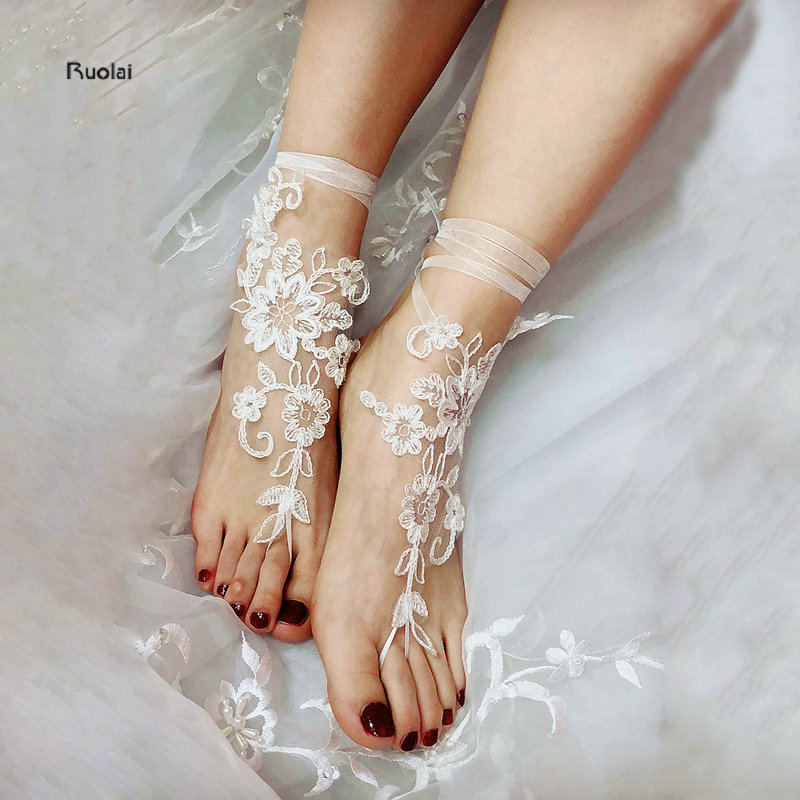 Bridesmaid Gifts Beach Wedding: 2018 Hot Sale Appliques Barefoot Sandals Wedding Bridal