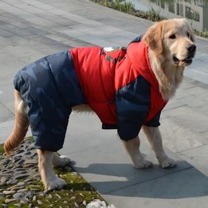 Image 3 - Waterproof Warm Cotton Big Dog Clothes Winter Large Dog Overalls Jumpsuit Dog Down Parka Coat Boxer Golden Retriever Clothing