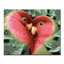 Framed Oil Painting By Numbers Home Decor DIY Digit Kits Coloring Red Love Birds Pictures On Canvas Wall Art Abstract Drawing(China)
