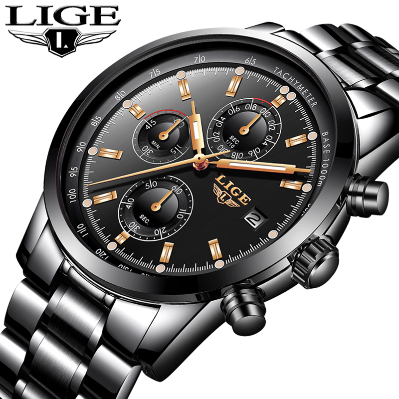 LIGE Watch Men Fashion Sport Quartz Clock Mens Watches Top Brand Luxury Full Steel Business Waterproof Watch Relogio Masculino weide popular brand new fashion digital led watch men waterproof sport watches man white dial stainless steel relogio masculino