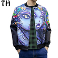 2016 Plus Size 5XL Autumn Pattern Print Men Jackets and Coats Long Sleeve Covered Button Bomber Jacket Chaqueta Hombre #161382A