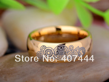 YGK JEWELRY 8mm Golden Dome Doctor Who Time New Men's Tungsten Carbide Wedding Ring
