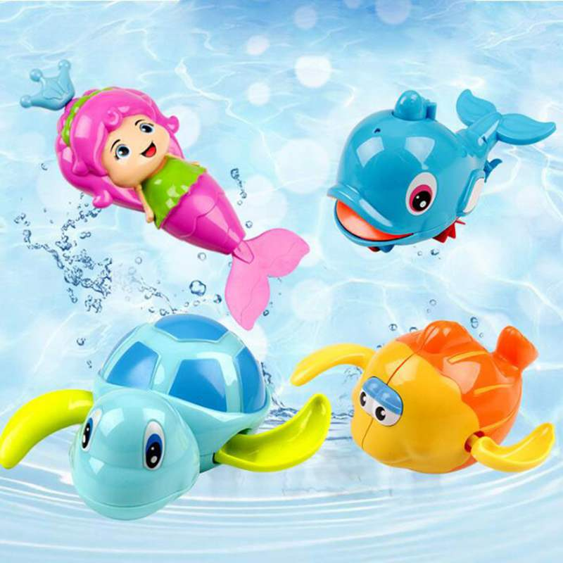 Cartoon Mermaid Turtle Clockwork Dabbling Bath Toys Baby Educational Learning Toys For Classic Swimming Water Wind Up Chain Toy