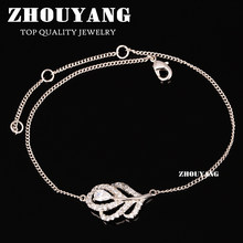 ZHOUYANG Top Quality ZYH193 Lady Micro Insert Clear Crystal Leaf Silver Color Bracelet Jewelry Austrian Crystal(China)