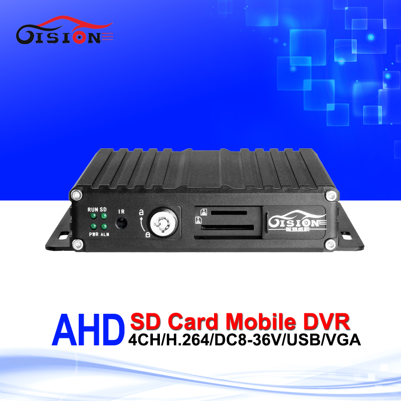 4CH Realtime 720P AHD Mobile Dvr Video/Audio Input Digital Video Recorder I/O Alarm Cheap Price SD Card AHD M-dvr Free Shipping apv mdr7208 1080p ahd car mobile dvr support video audio monitoring intercom ptz alarm over speed geo fence etc through remote