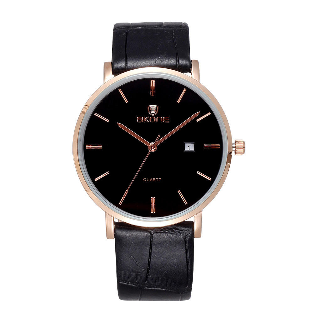 ФОТО  Skone Gold Leather Strap men Watches business Casual Quartz Wrist watch Relojes