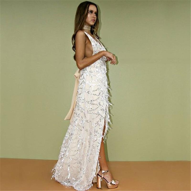 e47d7a1cc515c Sexy spaghetti strap paillettes Dos Nu robe 2016 De Noël femmes mode sequin  robe Élégante de partie longue robe robes