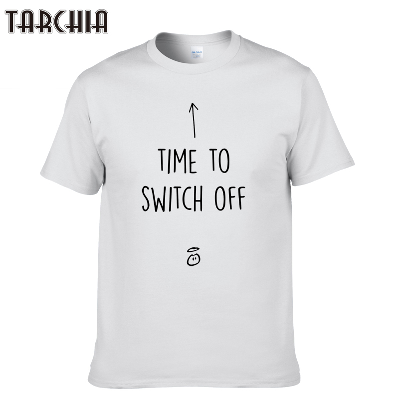 TARCHIA 2019 new brand time to switch off t-shirt cotton tops tees men short sleeve boy casual homme tshirt t shirt plus fashion