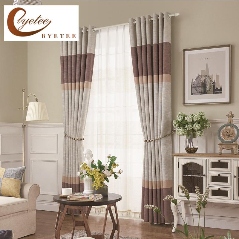 Byetee Modern Living Room Luxury Window Curtains Striped: Aliexpress.com : Buy {byetee} Faux Linen Modern Living