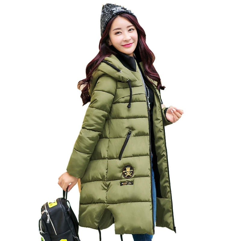 2016 Fashion Army Green Winter Parkas Women's Wadded Jacket Thickening Women Outerwear Cotton-padded Jacket Medium-long Coat