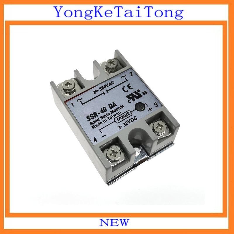 10PCS/Lot SSR-40DA 40A 3-32VDC 24-380VAC SSR-40