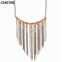 Chicvie простые милые Бусы из натурального камня ожерелье золотого