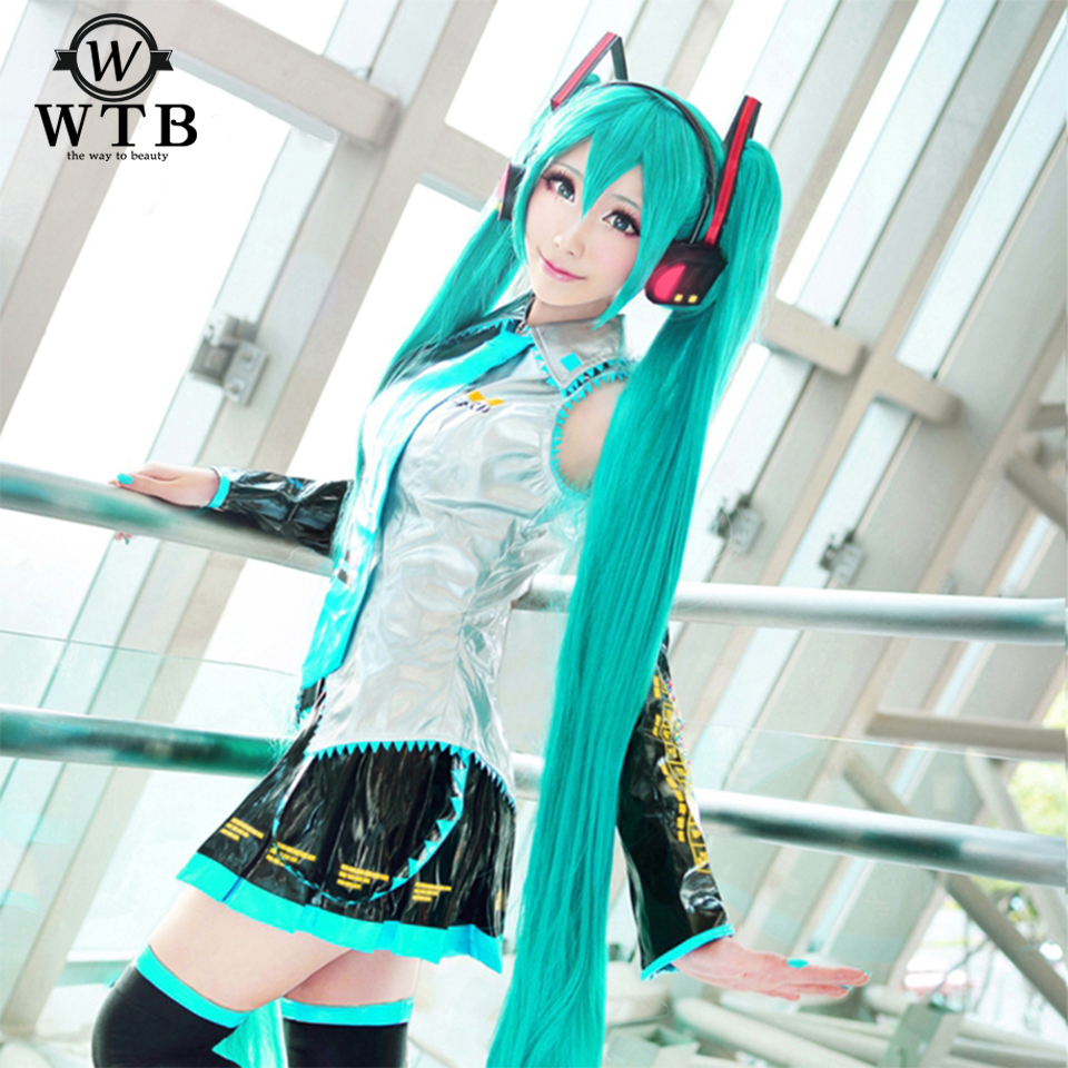 Hair Extensions & Wigs Wtb Cosplay Wig Hatsune Miku Costume Play Wigs Halloween Party Anime Game Hair Aquamarine Wig+wig Cap A366 Lustrous Surface
