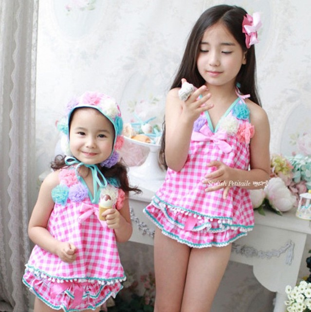 f643fda5cd EMS DHL Free shipping blossom flower kid girl beachwear Pink Flower swimsuit  bikini checker Swimwear Korea Style 5 PCS  LOT