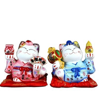 5 Inch Chinese Style Ceramic Lucky Cat Piggy Box Ornament Modern Home Decoration Lucky Cat Coin Saving Box Creative Money Bank