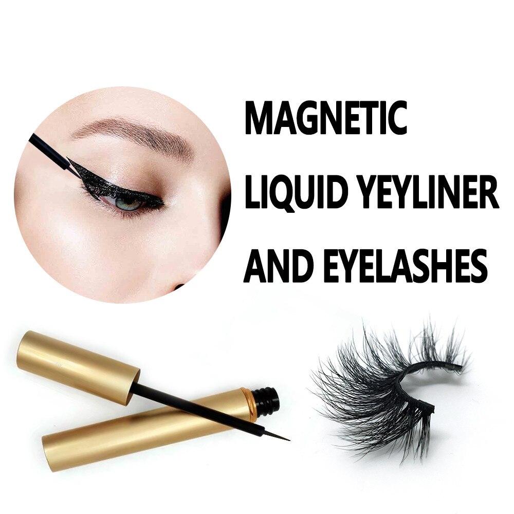 New magnetic liquid eyeliner and 3d suede three magnetic false eyelash set Mink eyelashes magnetic eyeliner and eyelashes