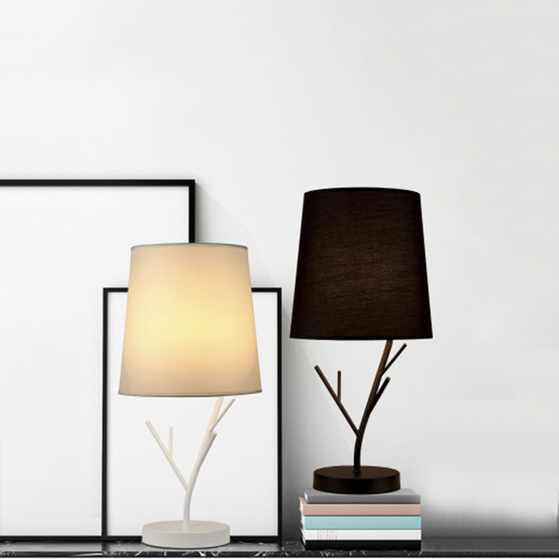Nordic Simple Iron Fabric Table Lamp Modern Art Deco Desk