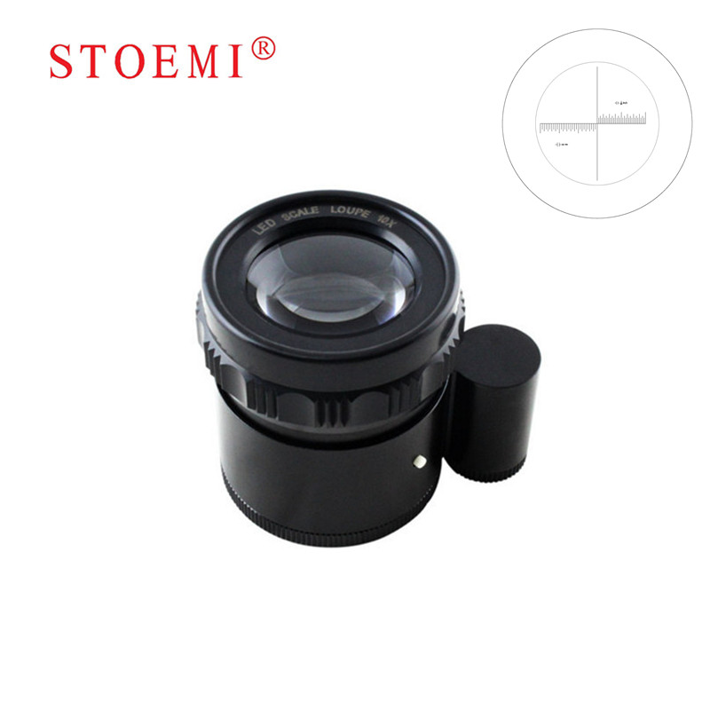STOEMI 10X Portable Metal 8 LED Illuminated Focus Adjustable Cylindrical Loupe with Measure Scale Magnifier 6804-05 professional led with scale chart jewelry 10x loupe gm 1025s