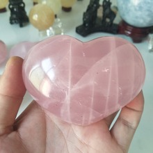A 180 200g Natural rose quartz crystal heart healing crystal household ornament