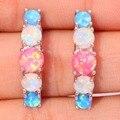 "Pink White Blue Fire Opal Silver Earrings Wholesale Retail Hot Sell For Women Jewelry Stud  Earrings 1"" OH2928"