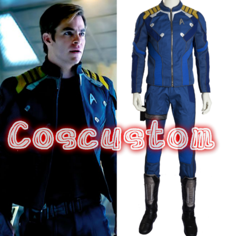 Coscustom Star Trek Beyond Captain Kirk Costume Star Trek uniform Chekov Kirk costume suit Halloween Cosplay Costume