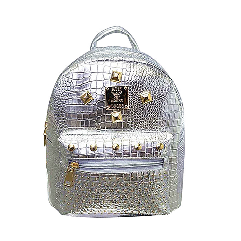 2018 Women Backpack PU Leather Rivet Backpack-Female Alligator Mini School Bag For Teenage Small Backpacks For Girls mochila bts fashion pu leather women backpacks 4pcs set rivet school bag for teenage girls bow mochila bags lady backpack mochila