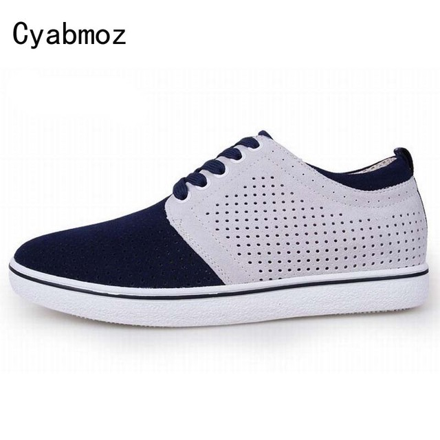 New Invisible Increased Men's Lacing Elevator Shoes Daily Casual Suede Leather Breathable Height Increasing 6CM Summer Shoes Man