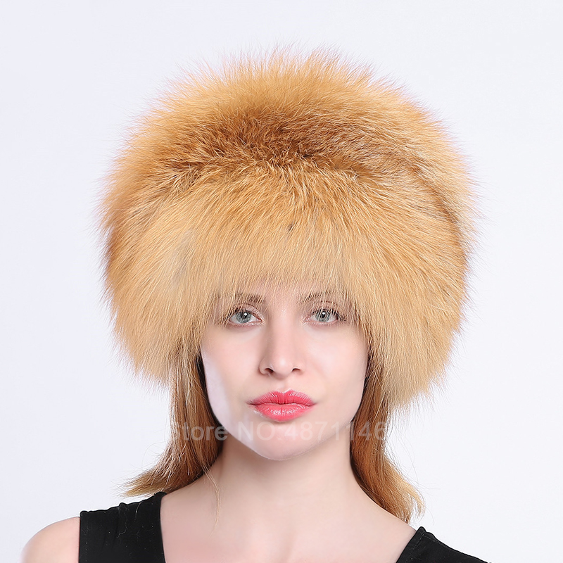 New women men Winter Russian warm Russian female girl Genuine natural Fox raccoon Fur Mongolia Hat with tails   Skullies     Beanies