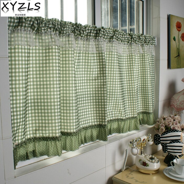 XYZLS Green Plaid Blinds Kitchen Curtains Cafe Curtain Door Half Short Panel Drapes Valance Home