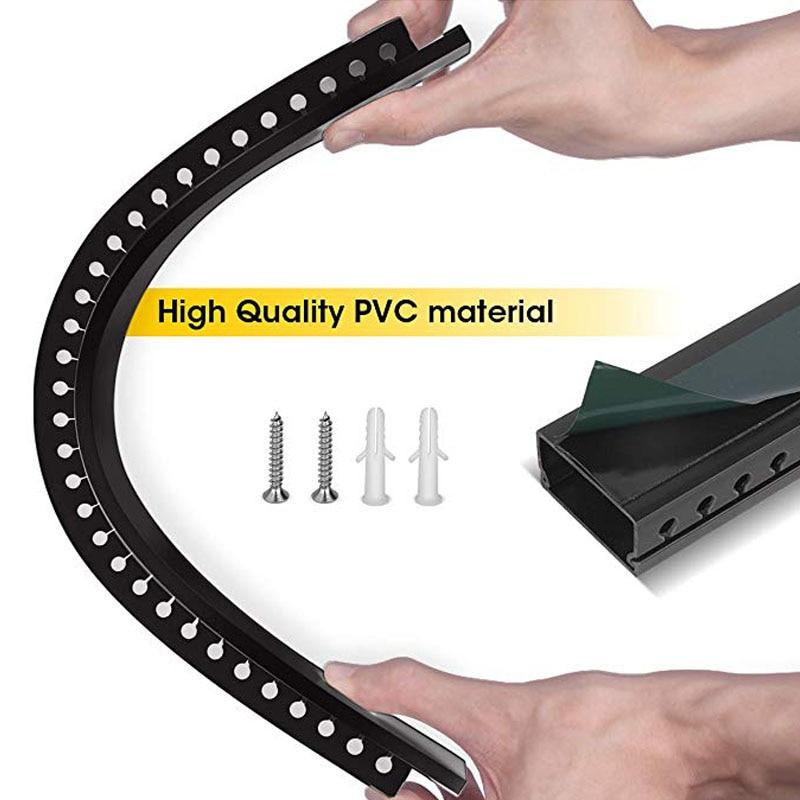 Kit de chemin de câbles Kit de système de gestion de câble conduit de chemin de câbles à fente ouverte avec couvercle sur le mur organisateur de cordon correcteur de câble - 5