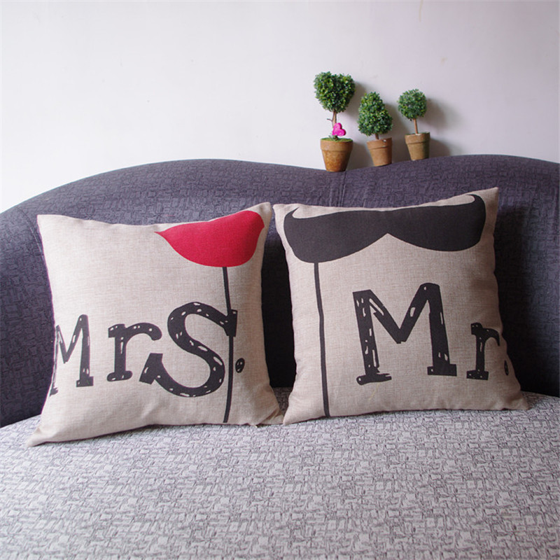 New Fashion Line Mr Moustache Mrs Flower Printed Pillow Case