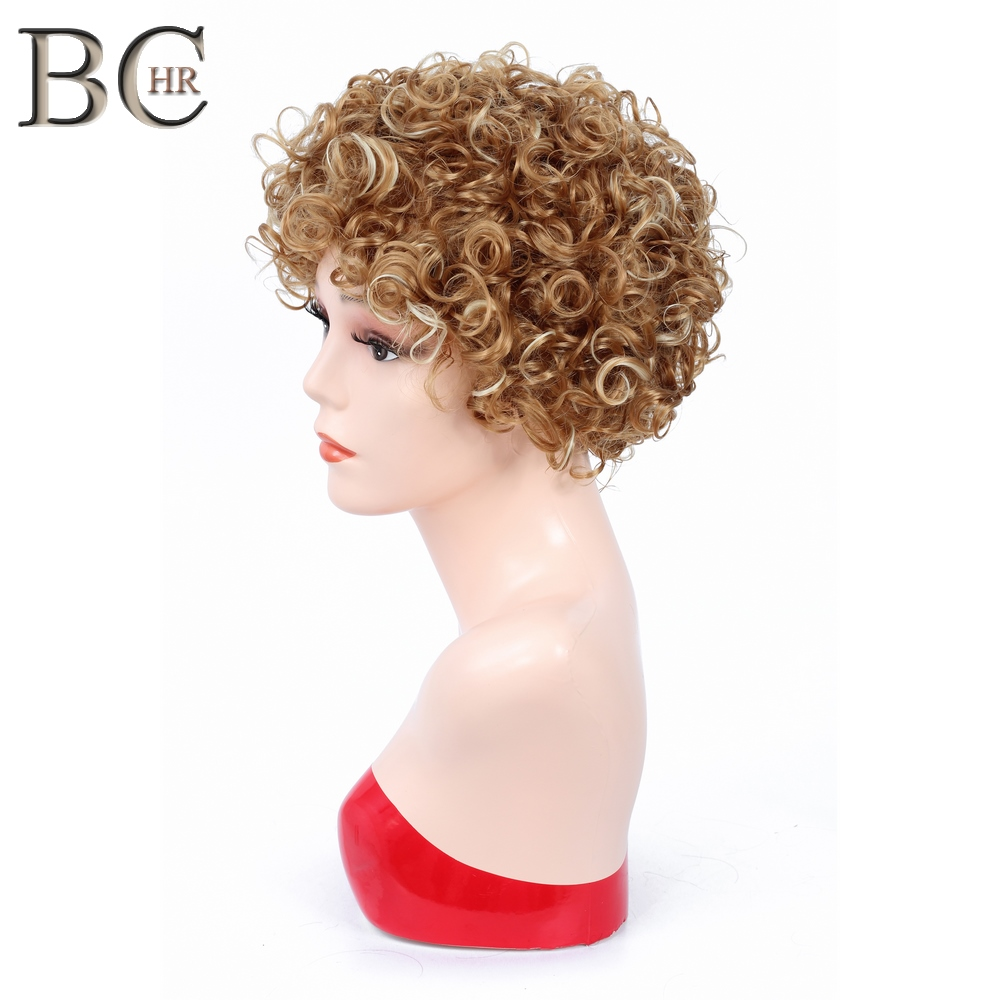 BCHR 6 Inch Short Curly Synthetic Blonde Wigs For Black Women African Hairstyles Natural Black Wig