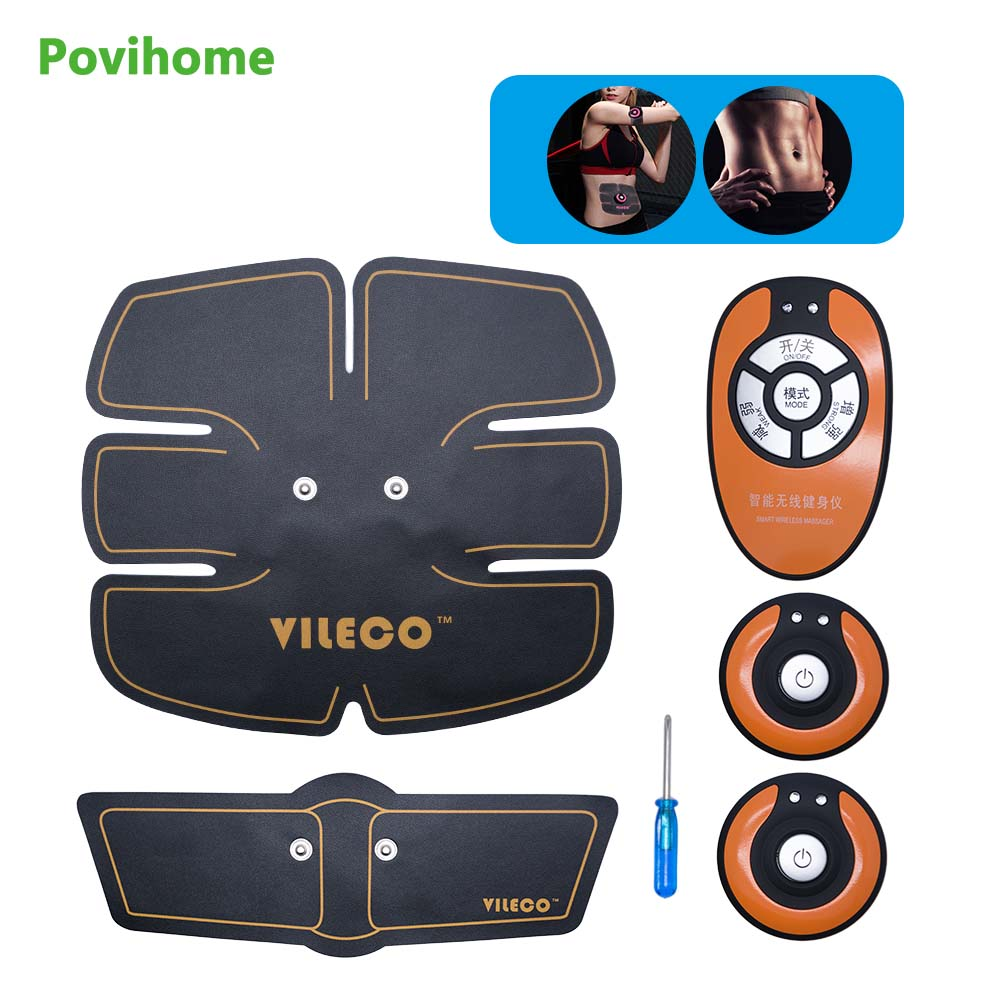 1 Set Povihome Wireless Muscle Stimulator EMS Stimulation Body Slimming Abdominal Exerciser Training Device Body Massager C1417 in Massage Relaxation from Beauty Health