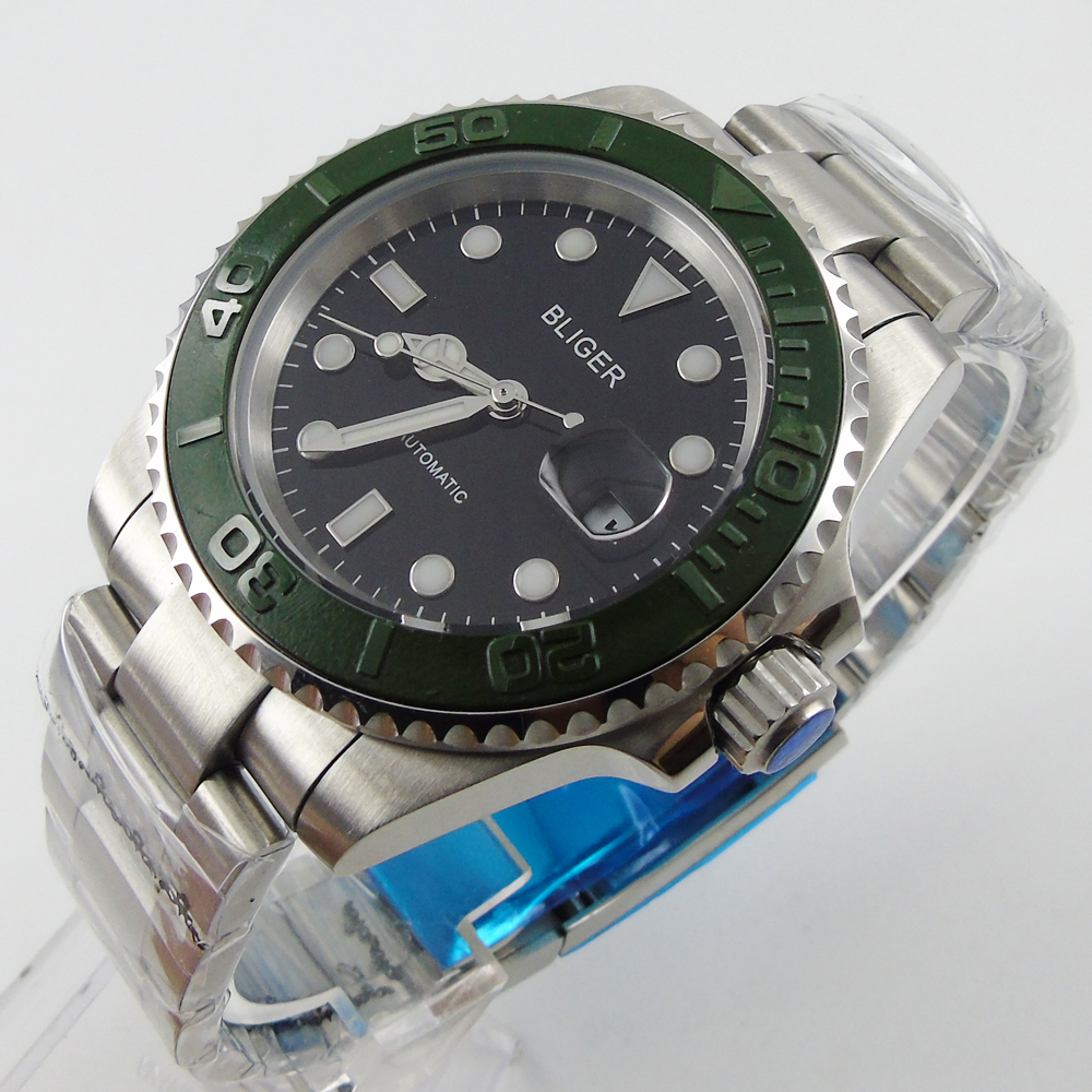 лучшая цена Bliger 40mm black dial date green Ceramics Bezel luminous saphire glass Automatic movement Men's watch