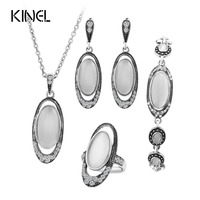 Hot 4Pcs Sets Vintage Wedding Jewelry Set For Women Ancient Silver Color White Opal Ring Necklace