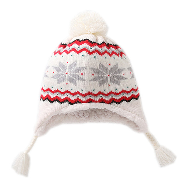 baby   kids girls white snowflakes winter fleece earflap beanie hat  children girl fashion casual knitted warm hat caps 597b35dce71