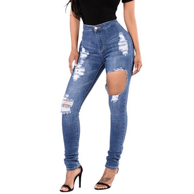 a830e718183 Sexy Women Destroyed Ripped Distressed Slim Denim Pants Boyfriend Jeans  Trousers Plus Size High Waist Jeans Woman Pencil Pants