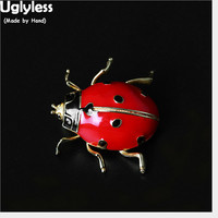 Uglyless 100% Real 925 Sterling Silver Ladybug Brooches for Women Lovely Insect Brooch Enamel Vivid Red Fine Jewelry Handmade
