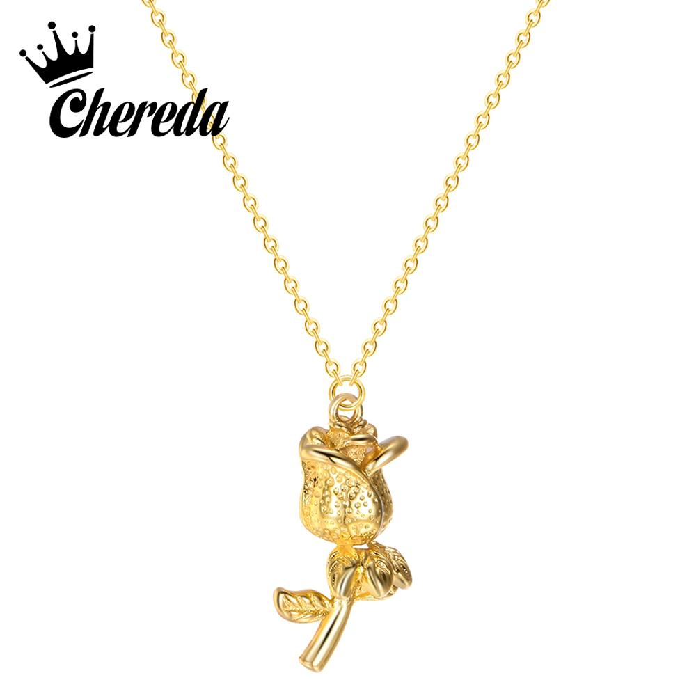 Chereda Confession Girl Gift Golden Flower Tiny Necklaces Elegant Fashion Necklace Statement Plant Jewelry